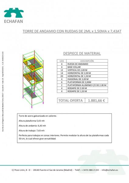 TORRE DE ANDAMIO RS8- 2 x 1,5 x 7,43 AT (altura de trabajo)